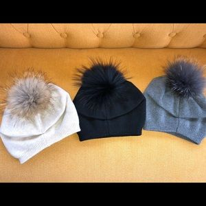 Accessories - Winter knitted hats with real Fox Pom Poms